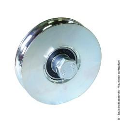 Roue à gorge ronde zingué blanc