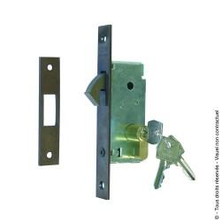 Serrure à crochet rentrant avec gâche et cylindre 3 clés