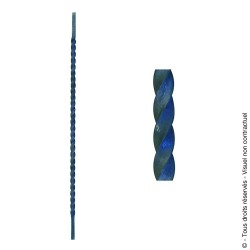 Barreau de clôture N°17 acier carré torsadé diamètre 14 mm